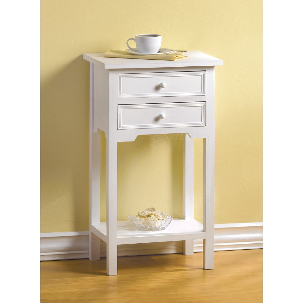 Amazon.com: Set Of 2 Wood White End Tables Nightstands With Two Drawers:  Kitchen U0026 Dining