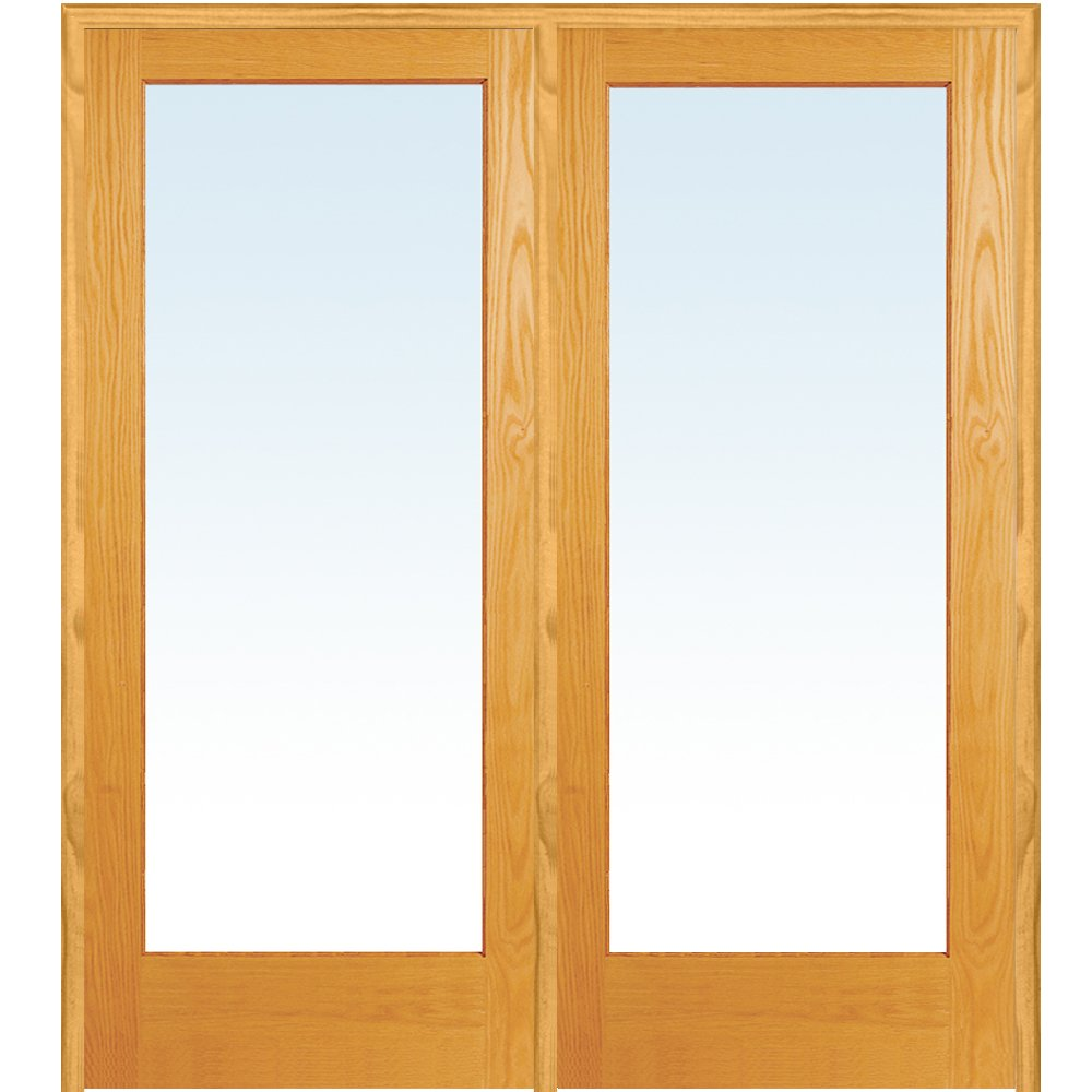 National Door Company Z019935R Unfinished Pine Wood 1 Lite Clear Glass, Right Hand Prehung Interior Double Door, 60'' x 80''