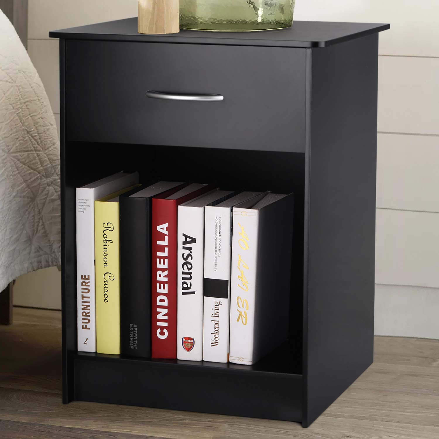 INTEY Nightstand with Drawer and Open Storage Shelf, Side End Table for Bedroom Living Room, Black by INTEY