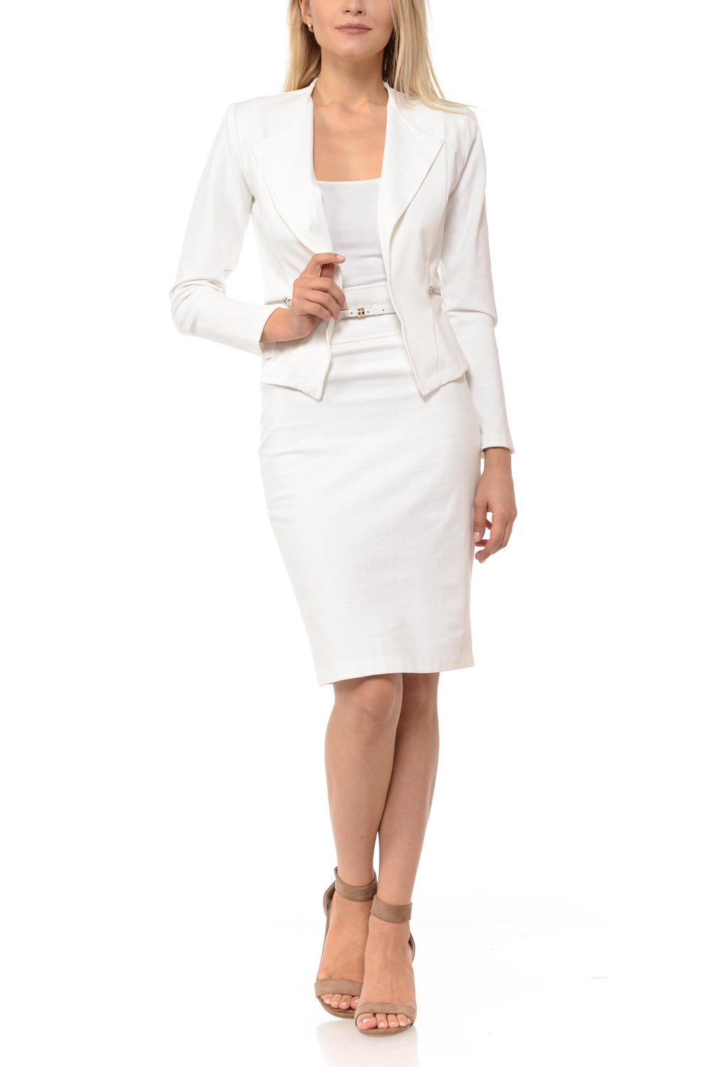 Sweethabit Womens Wear to Work Solid Skirt Suit Set (XLarge, White)