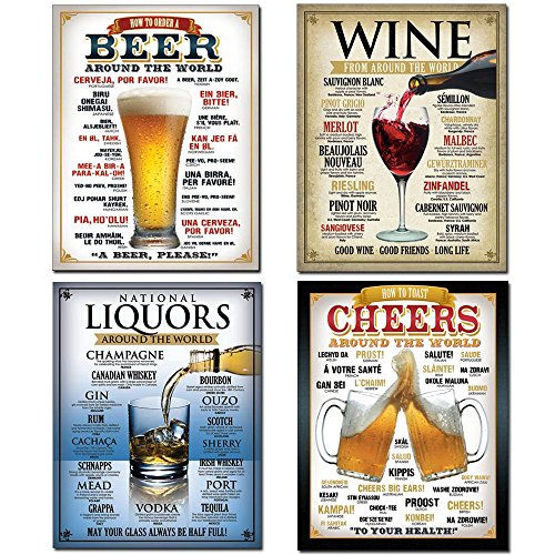 Tin Sign Bundle - How to Order a Beer, Wine From Around the World, National Liquors Around the World, Cheers Around The ()