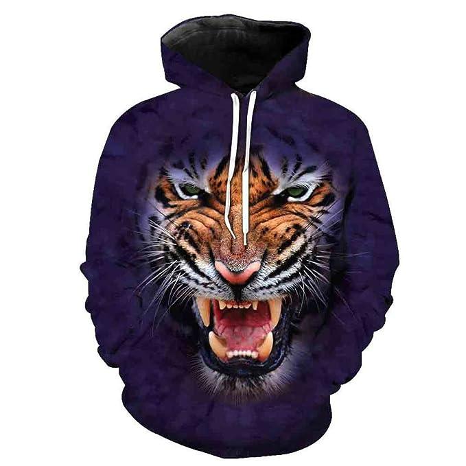 Style Street Loose Xmas Size Men Tigre Motivo Di Testa Xnrhh A Large cqL5A4jR3