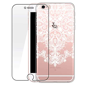 iPhone 6S Plus móvil con Tanque Cristal, iPhone 6 Plus Funda Transparente Silicona Blanco Henna Mandala patrón Cover Case Funda Carcasa Transparente ...