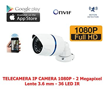 Cámara IP Camera 2 Mpx 36 LED ONVIF Full HD 1080p NVR Video Vigilancia P2P,