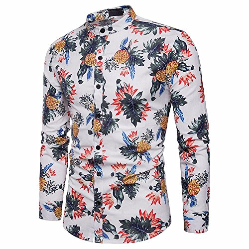 VIASA_ Men Cool Tee Shirts, Floal Fancy Print Button Shirts Slim Long Blouse Tops T- Shirt (White, M)