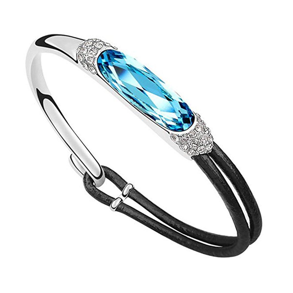 Amazon.com  Jisela Women Fashion Jewelry Swarovski Crystal Elements and  Leather Bracelet (Brown)  Jewelry 93ed7e345f