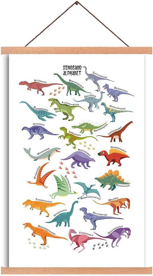 Dinosaur Art Print Magnetic Natural Wood Hanger Frame Poster, Canvas Animal Dinosaur Alphabet Painting 40X64cm Wall Hanging Art Print for Kids Room Classroom Nursery Decor
