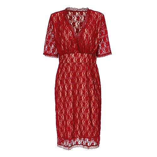 Lover-Beauty Women's Plus Size 3/4 Sleeve Lace Dress Cocktail Party Dress