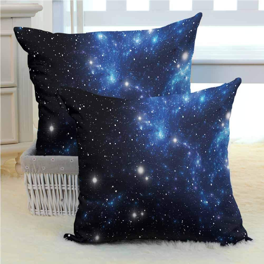 RenteriaDecor 2pc Set of Pillow Cases 18x18 Inch x2pcs Constellation,Outer Space Star Nebula Astral Cluster Astronomy Theme Galaxy Mystery,Blue Black White Pillowcase