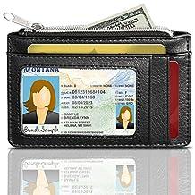 RFID Blocking Leather Wallet (3 Slots), GreatShield Theft Proof Credit Card Holder [3 card slots | 1 Zippered Pocket] for Men & Women (Black)