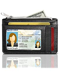 RFID Blocking Leather Wallet (3 Slots), GreatShield Theft Proof Credit Card Holder [3 card slots   1 Zippered Pocket] for Men & Women (Black)