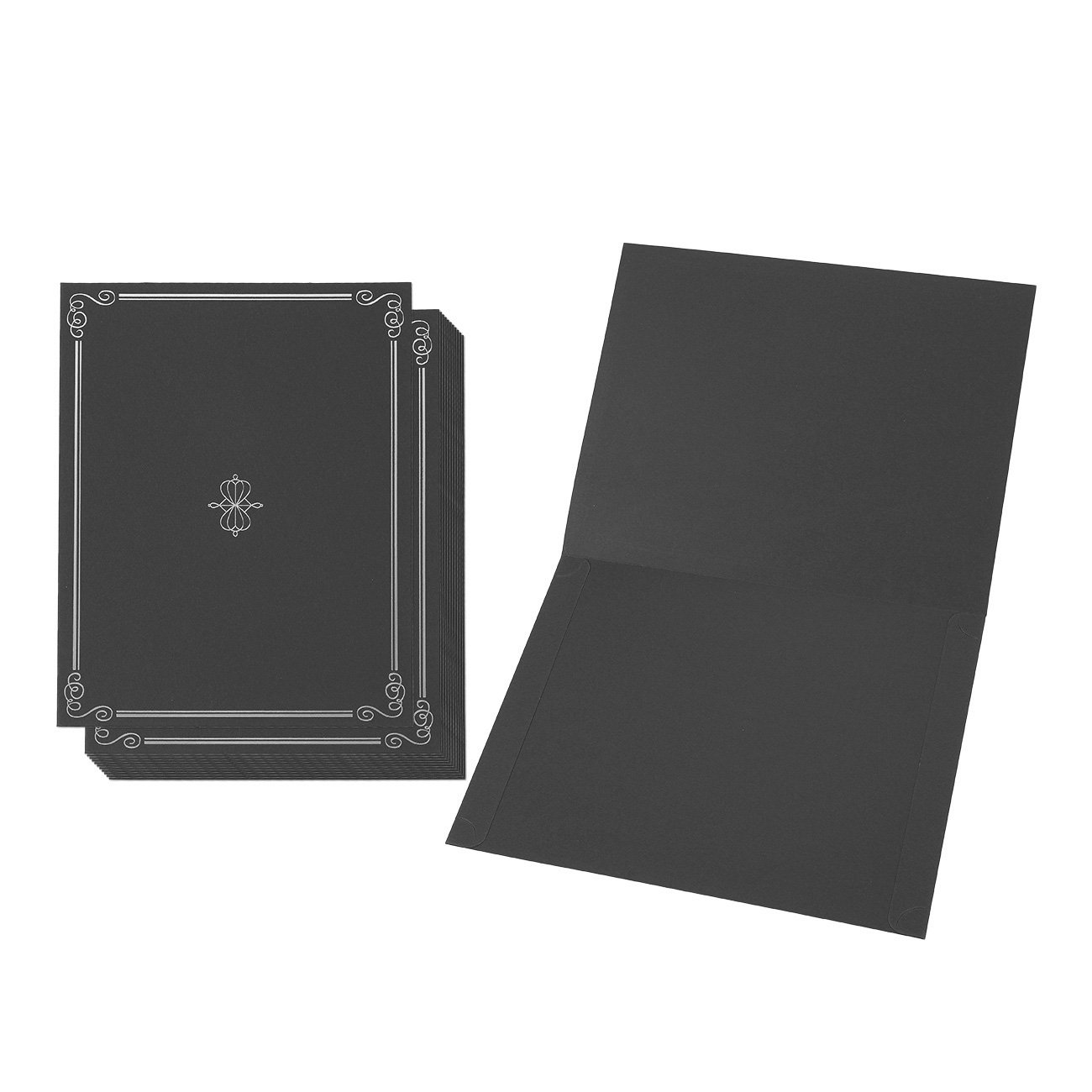 12-Pack Certificate Holder - Diploma Cover, Document Cover for Letter-Sized Award Certificates, Black, Silver Foil, 11.2 x 8.8 Inches