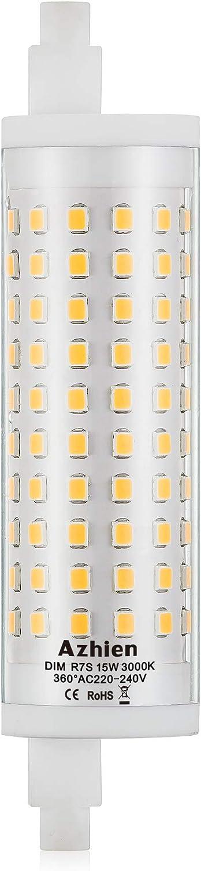 R7S LED 15W 118mm Regulable Lámpara de reflector Azhien, blanco cálido 3000K, 15 vatios, equivalente a la lámpara halógena 80W 100W 125W, 230V CA, 1700LM-2000LM, 360 grados, 1 paquetes