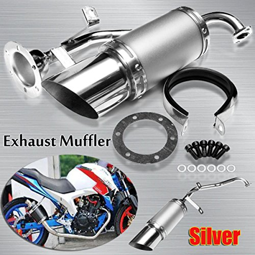 scooter Short Performance Exhaust System Silver Steel For GY6 150cc Chinese US by scooter