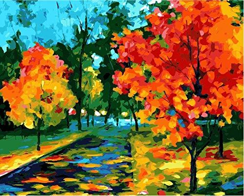 Pintura por Numeros para Adultos DIY Pintura al oleo sobre Camino Dorado de otono Lienzo Pintar por Numeros para Adultos Principiantes 40x50cm (Sin Marco)