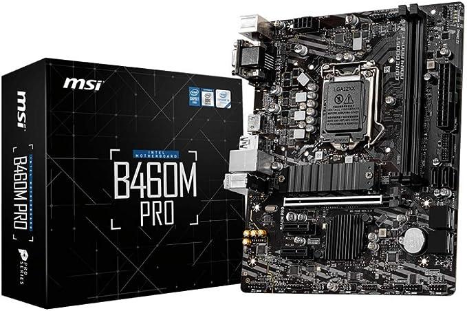 Amazon.com: MSI B460M PRO ProSeries Motherboard (mATX, 10th Gen Intel Core, LGA 1200 Socket, DDR4, M.2, USB 3.2 Gen 1, 2.5G LAN, DSUB/DVI/HDMI): Electronics