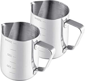 2 Pack Milk Frothing Pitcher, Espresso Coffee Steaming Pitcher 12 oz Milk Frothing Cup 350 ml