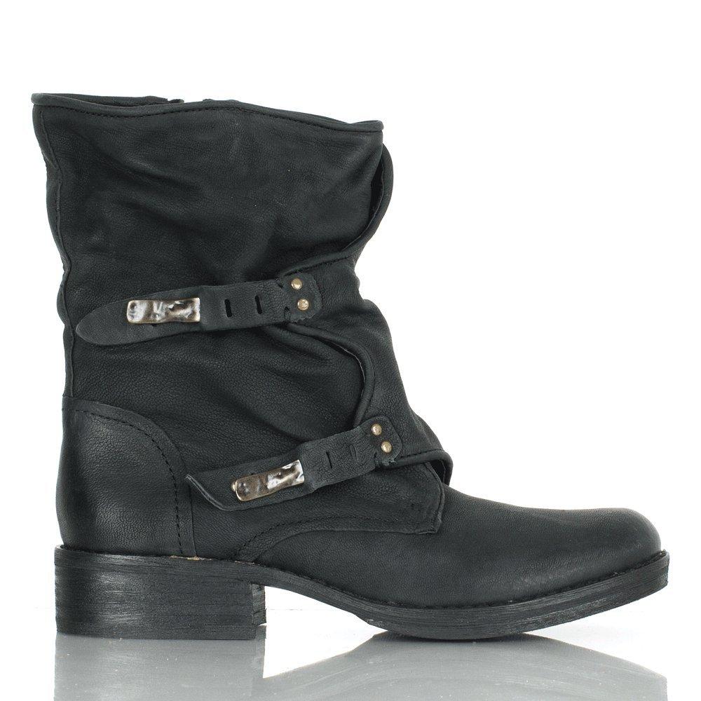 f19110cb027d Sam Edelman Black Leather Ridge Calf Biker Boot 41 Black Leather   Amazon.co.uk  Shoes   Bags