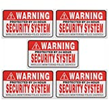QOJA 5pcs self-adhensive camera cctv sticker safty signs decal