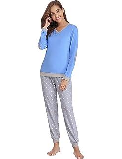 Abollria Pijama Mujer Algodón 2 Piezas Set V-Cuello Conjunto de Pijamas de Manga Larga Jogging Estilo Ropa de Dormir: Amazon.es: Ropa y accesorios