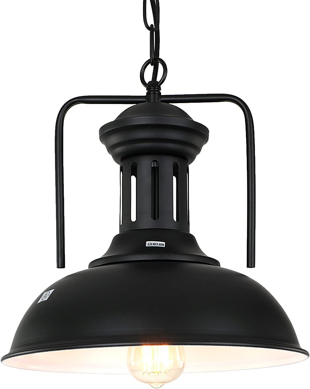 Pauwer Pendant Light Industrial Metal Barn Pendant Light with Dome Bowl Shade Nautical Pendant light with Adjustable Chain