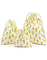 Hosaire 3Pcs/lot Sac de Rangement en Coton et lin Pratique Sac à bagages Impression Ananas Mignonne Organisateur des Voyage Sac Pochette Avec Cordon