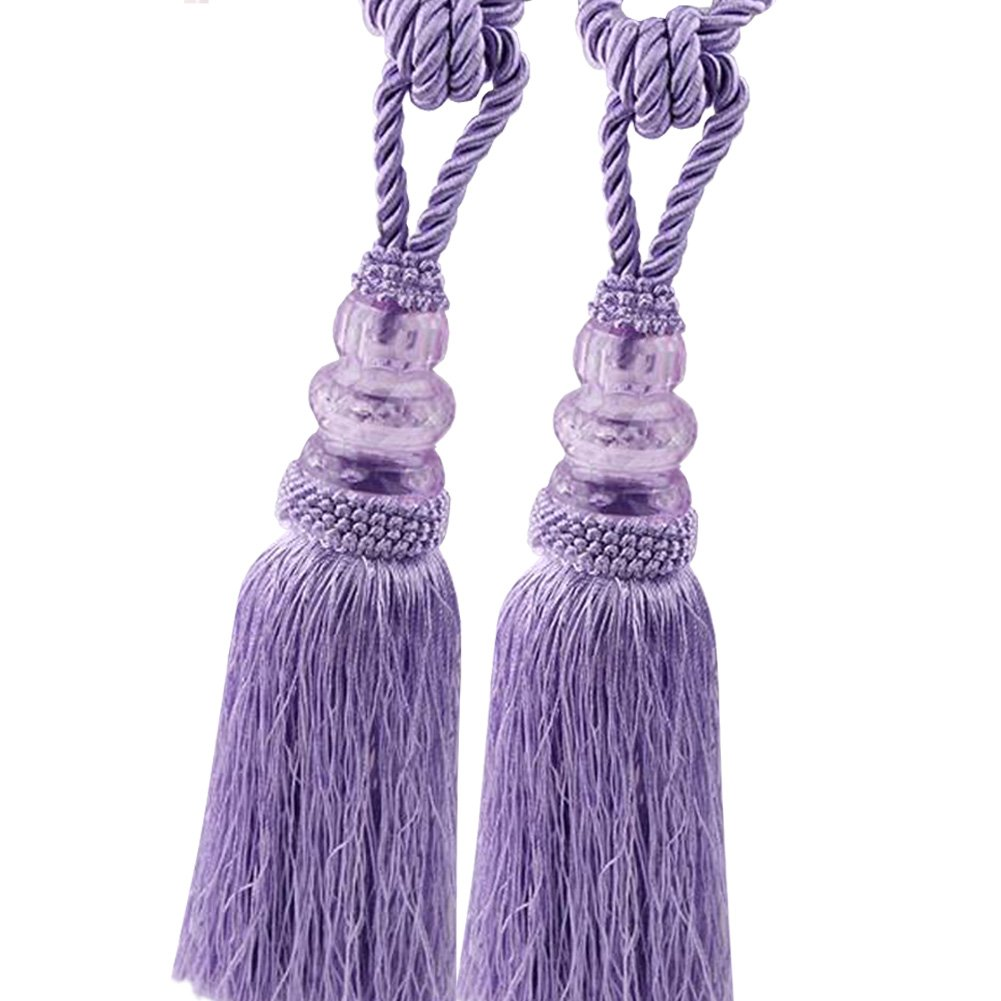 Champagne Chictie 2 Pack Curtain Tassel Tiebacks Crystal Beaded Fringe Ropes for Drapery Window Door Decorations