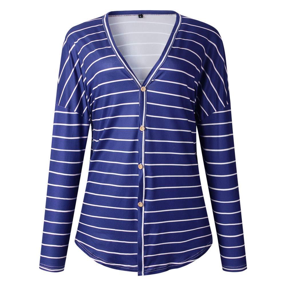 Blusa de Mujer, Manadlian Botón de Manga Larga Mujeres Cuello en V Impresión de la Raya Tops túnica Camisas Blusa: Amazon.es: Ropa y accesorios