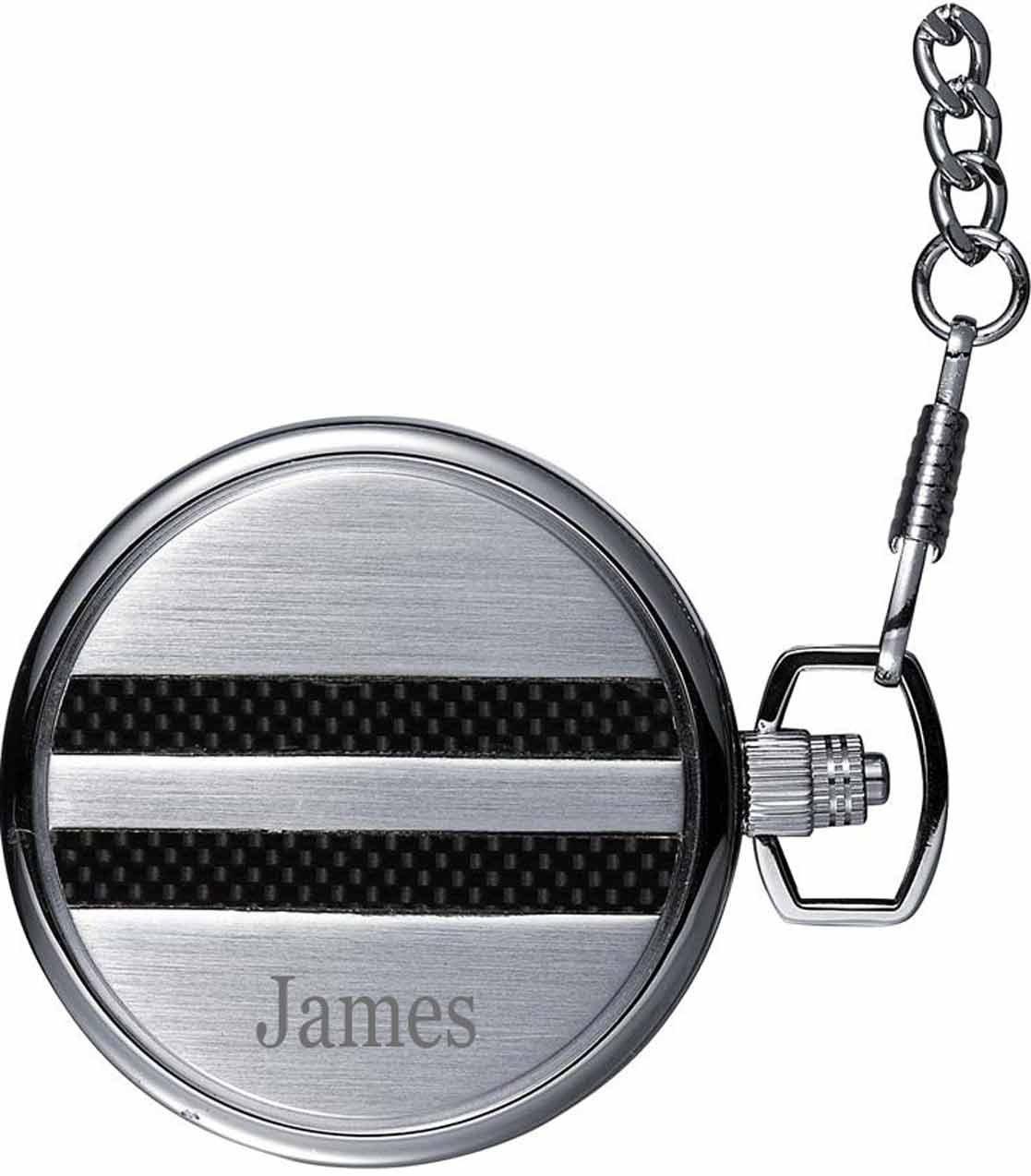 Personalized Visol Turbo White Dial Carbon Fiber Pocket Watch with free engraving