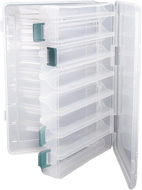 Doble cara pesca señuelos caja topind visible plástico transparente pesca cebo ganchos cajas puntas para tornillos de terminal tackle claro caja de almacenamiento organizador caso 14 compartimentos con: Amazon.es: Deportes y aire