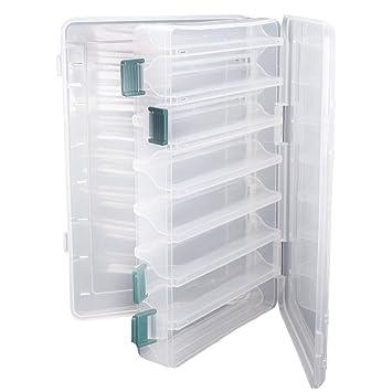 Doble cara pesca señuelos caja topind visible plástico transparente pesca cebo ganchos cajas puntas para tornillos