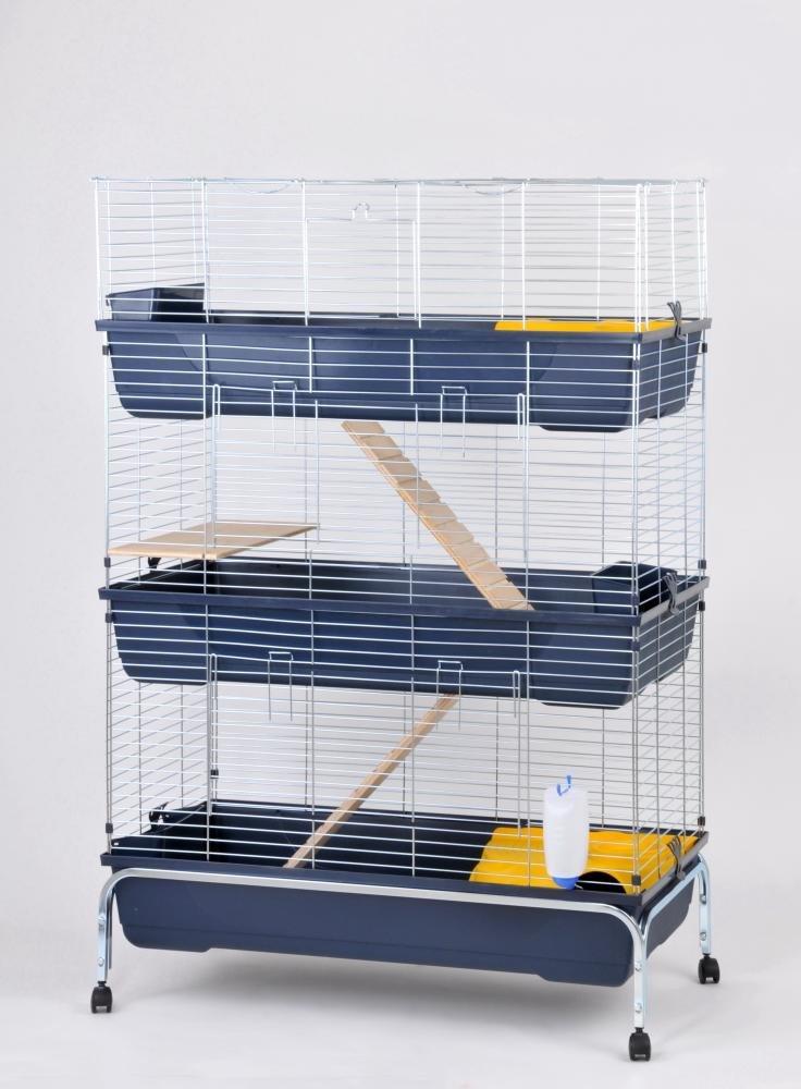 Rohrschneider Nagerhaus, Hasenkäfig, Kaninchenstall, Nagerkäfig Baffy mit Ständer 3-stöckig, Maße: ca. 53 x 100 x 150 cm