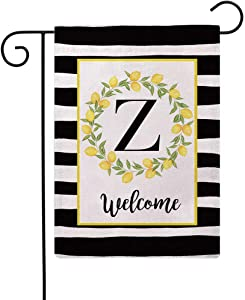ULOVE LOVE YOURSELF Welcome Farmhouse Decorative Garden Flags with Letter Z/Lemons Wreath Double Sided House Yard Patio Outdoor Garden Flags Small Garden Flag 12.5×18 Inch(Z)