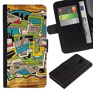 Paccase / Billetera de Cuero Caso del tirón Titular de la tarjeta Carcasa Funda para - City Art Trippy Deep Artsy - Samsung Galaxy S5 Mini, SM-G800, NOT S5 REGULAR!