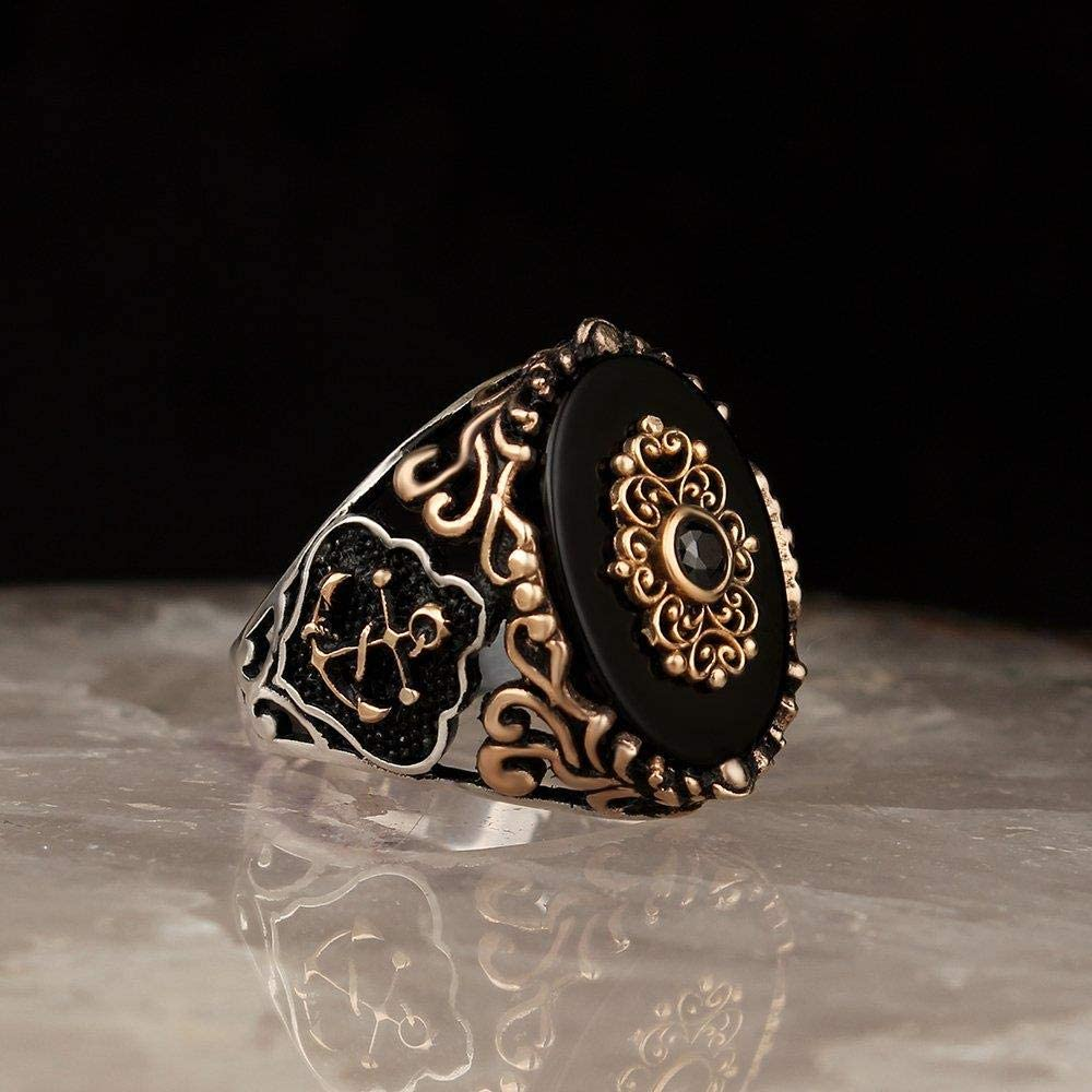 2020 Latest Design 925 - Anillo de plata de ley para hombre turco, piedra de ónix preciado para hombre, diseño de pavo macho