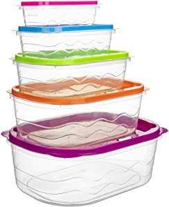 Modern Style Nesting Food Storage Containers Set of 5 All New Look High Grade Plastic Durable Unique and Fun Lunch Box Nest