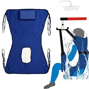 Patient Lift Toileting Sling Large Mesh Sling for Shower Home Use Electric Transfer Belt with Head Support Medical Handicap Commode Full Body Sling (Blue)