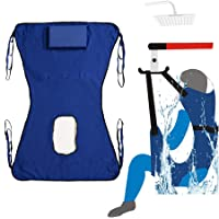 Toileting Sling Patient Lifter Medical Lift Equipment Bariatric Handicap Lift Commode Sling Medical Transfer Belt with Four Point Support Full Body Sling (Blue)