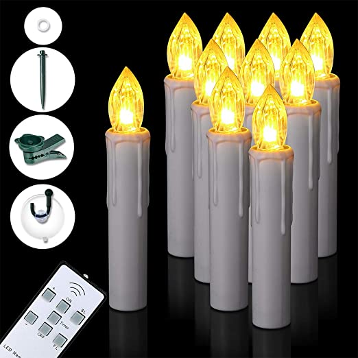 LED Window Candles 12 Piece Battery Operated Taper Candle Lights Home Decoration
