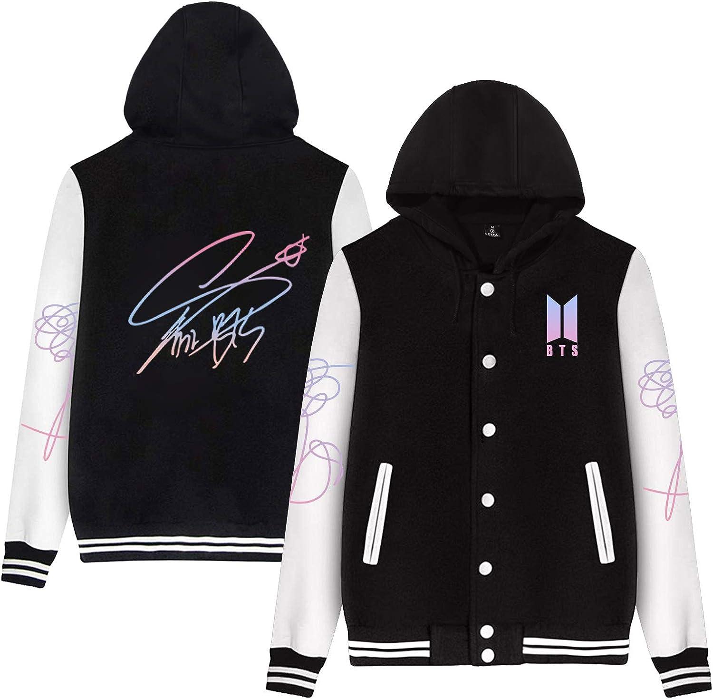 DHSPKN Kpop BTS Signature Baseball Jacket Love Yourself Hooded Sweatshirt Jungkook Jimin RM Suga Sweater Coat