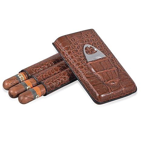 69c9b729799a Volenx Brown Crocodile Pattern Leather Travel Cigar Case, Cigar Holder 3  Tubes Cigar Humidor with Cutter