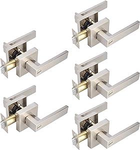 Heavy Duty Keyless Privacy Door Handles Levers Bedroom Bathroom Door Lock Sets in Satin Nickel Finish, Interior Door Knobs for Home/Office Use, Contrator Pack of 5