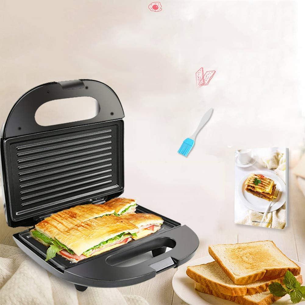 SRMTS Macchina per Sandwich Macchina per la Colazione 750 Watt Piastre Antiaderenti Rimovibili di Facile Pulizia Controllo Automatico della Temperatura Impugnatura,A B