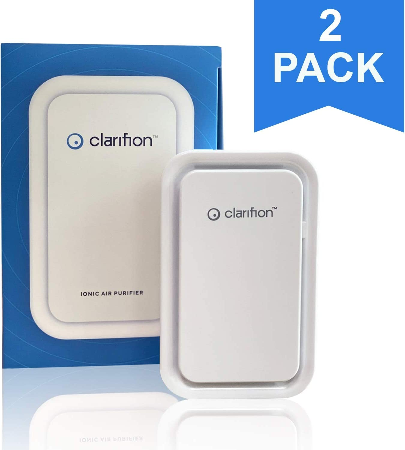 Clarifion - Negative Ion Generator with Highest Output (2 Pack) Filterless Mobile Ionizer & Travel Air Purifier, Plug in, Eliminates: Pollutants, Allergens, Germs, Smoke, Bacteria, Pet Dander & More