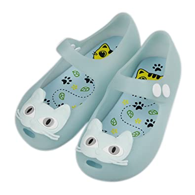 37c7631116bf iFANS Girls Cat Princess Jelly Shoes Mary Jane Flats for Toddler Little Kids  Blue