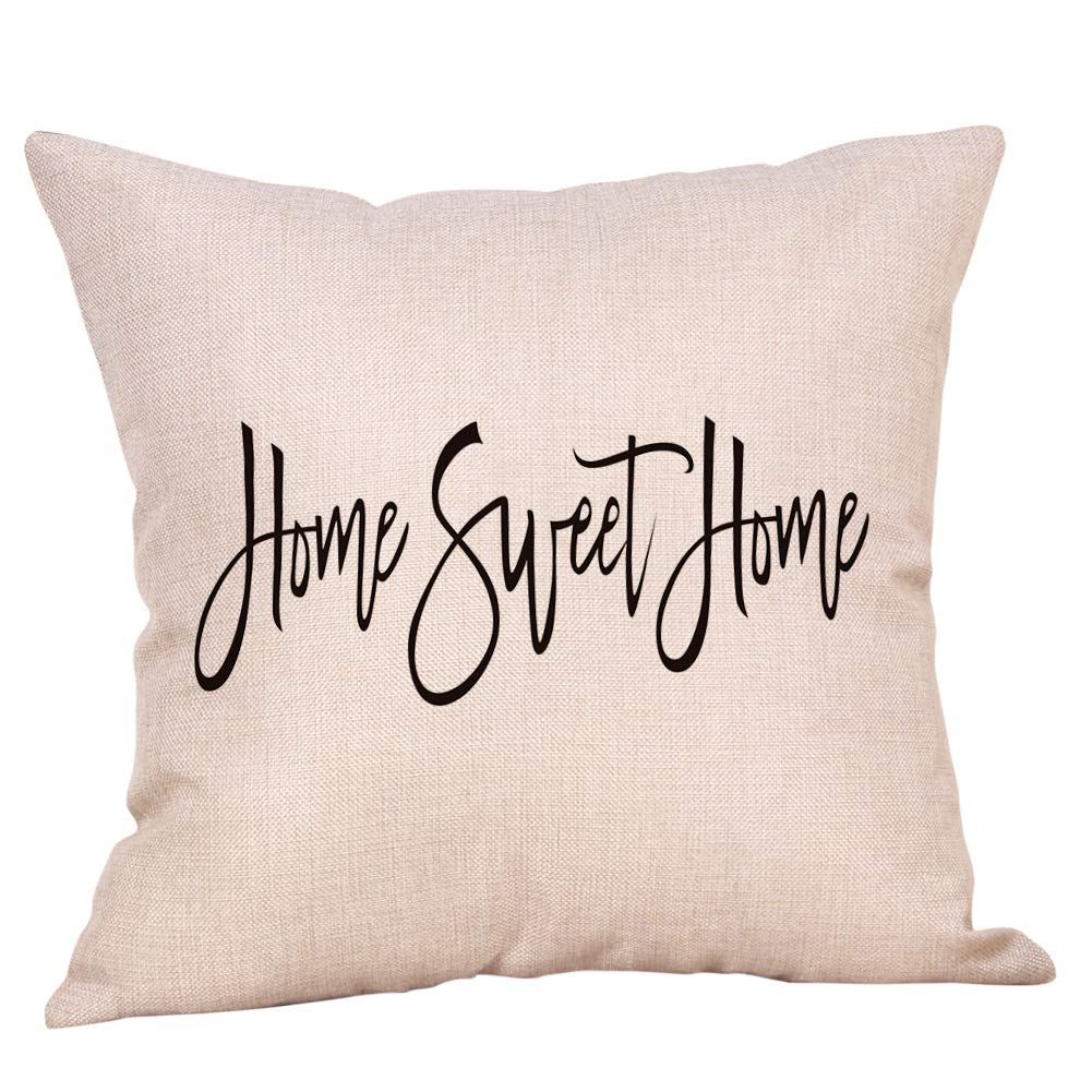 Softxpp Home Sweet Home Throw Pillow Cover Rustic Farmhouse Christmas Sign Winter Holiday Decor Cushion Case Decorative For Sofa Couch 18 X 18 Inch Cotton Linen Home Kitchen Throw Pillow Covers