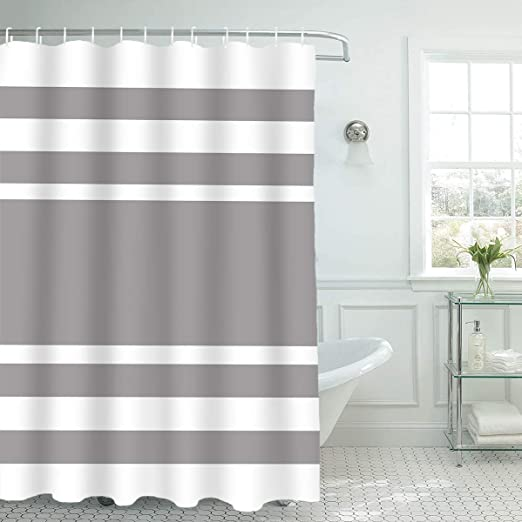 1 Piece 72x96 White Grey Spa Shower Curtain Gray Stripe Design Curtains Waffle