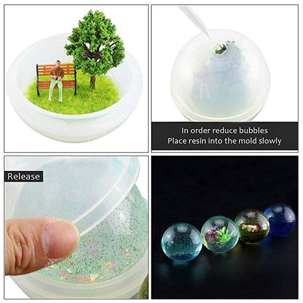 DIY Sphere Molde de Silicona Redondo para Resina epoxi joyer/ía Hacer Vela Cera casera jab/ón DIY pl/ástico Bomba de ba/ño Molde 5 Diferentes tama/ños de Bolas de Hielo