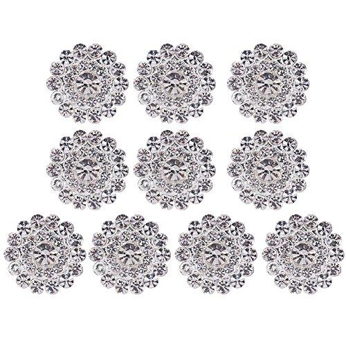 Flatback Rhinestone Buttons,WinnerEco 10pcs Silver Rhinestone Round Ribbon Slider Wedding Buckles - Round Ribbon