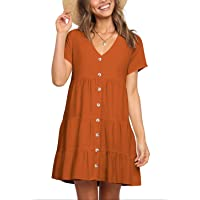 Cosonsen Womens Printed Swing Shift Dress Long Sleeve V Neck Tunic Dress